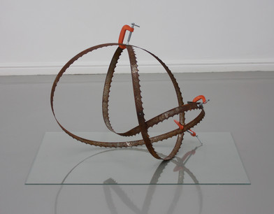 Ruann Coleman | Blade II | 2014 | Oxidised Blade and G-Clamps | 55 x 68 x 45 cm