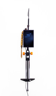 Masimba Hwati   Sokunge 9   2019   Steel, TV Monitor with Visual Playback, and Found Objects   213 x 33 x 22 cm