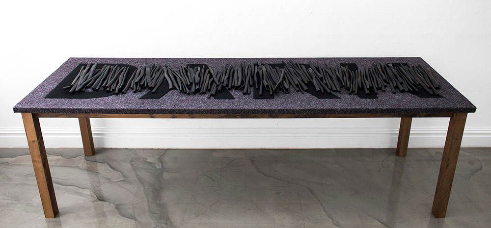 Willem Boshoff | Dark Xylophone | 2015 | Sculpted Black Wooden Sticks (Dalbergia Melanoxylon), Fabric, Steel | 66.5 x 215 x 67 cm