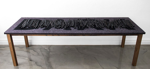 Willem Boshoff   Dark Xylophone   2015   Sculpted Black Wooden Sticks (Dalbergia Melanoxylon), Fabric, Steel   66.5 x 215 x 67 cm
