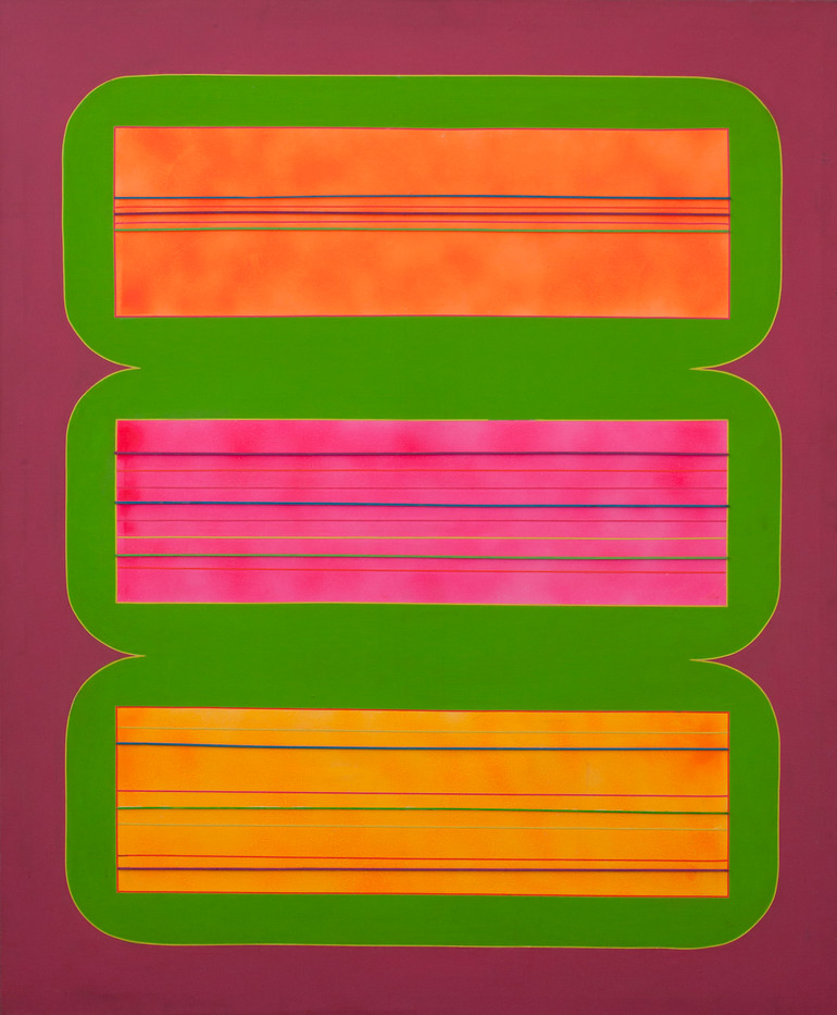 Trevor Coleman | Florescent | 1971 | Acrylic and Wooden Strips on Canvas | 153 x 127.5 cm
