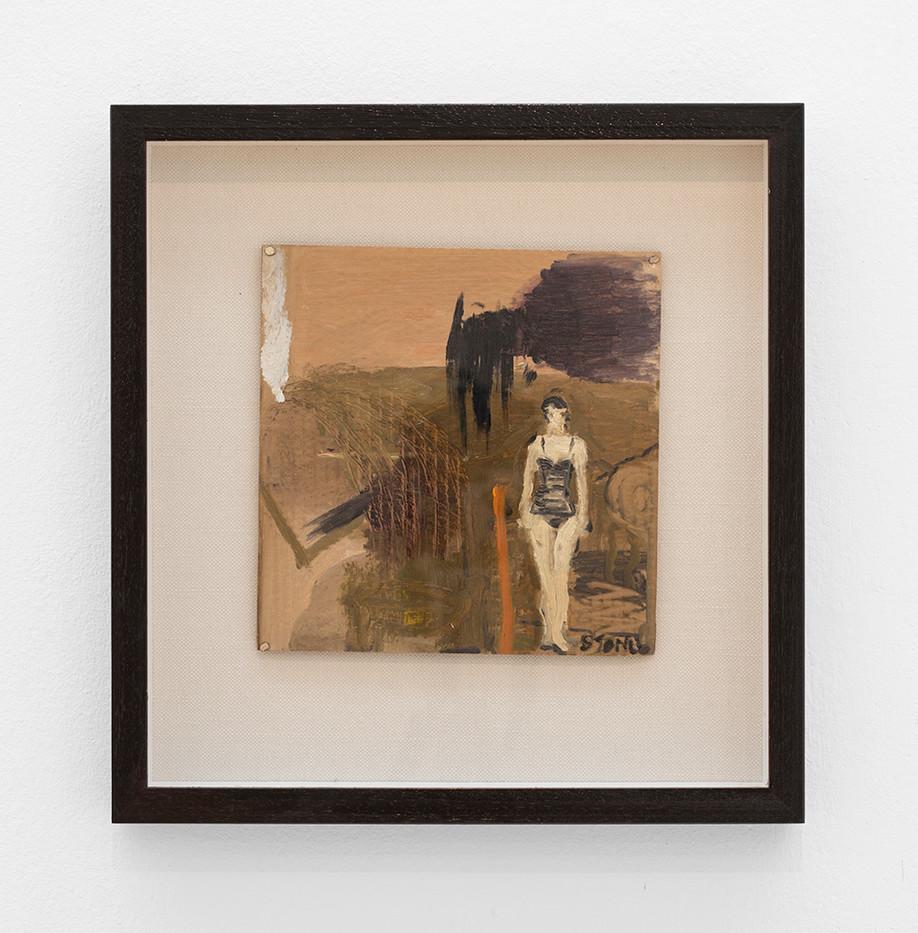 Simon Stone | Girl in Bathing Costume with Orange Stripe | 2017 | Oil on Cardboard | 23 x 23 cm