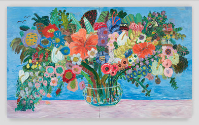 Georgina Gratrix | All the Birthdays Bouquet | 2016 | Oil on Board | 244 x 400 cm
