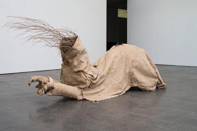 Aaron Mulenga | Supplication | 2016 | Hessian, Wood, Tree Branches & Rams Horn | 186 x 72 x 290 cm