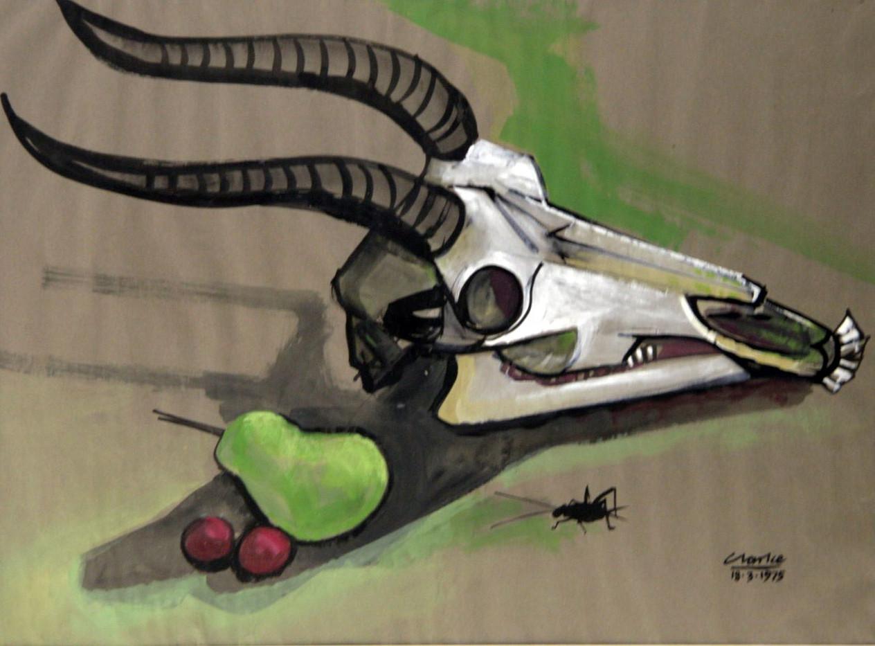 Peter Clarke | Still Life with Elands Skull | 1975 | Gouache on Paper | 46 x 61 cm