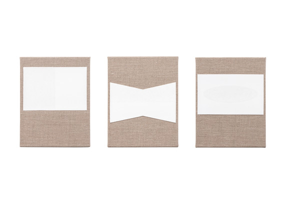 Pierre Vermeulen | Gesso and Glass Space nr 1, 2, 3 | 2020 | Gesso and Glass on Belgian Linen | 26 x 20 cm Each
