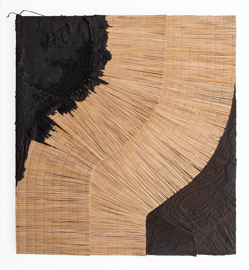 Simphiwe Buthelezi | This dark sediment | 2020 | Straw Mats, Glass Beads and Earth on Canvas | 150 x 138 cm