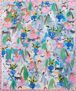 Georgina Gratrix | Suburban Wallpaper | 2017 | Oil on Canvas | 145 x 126 cm
