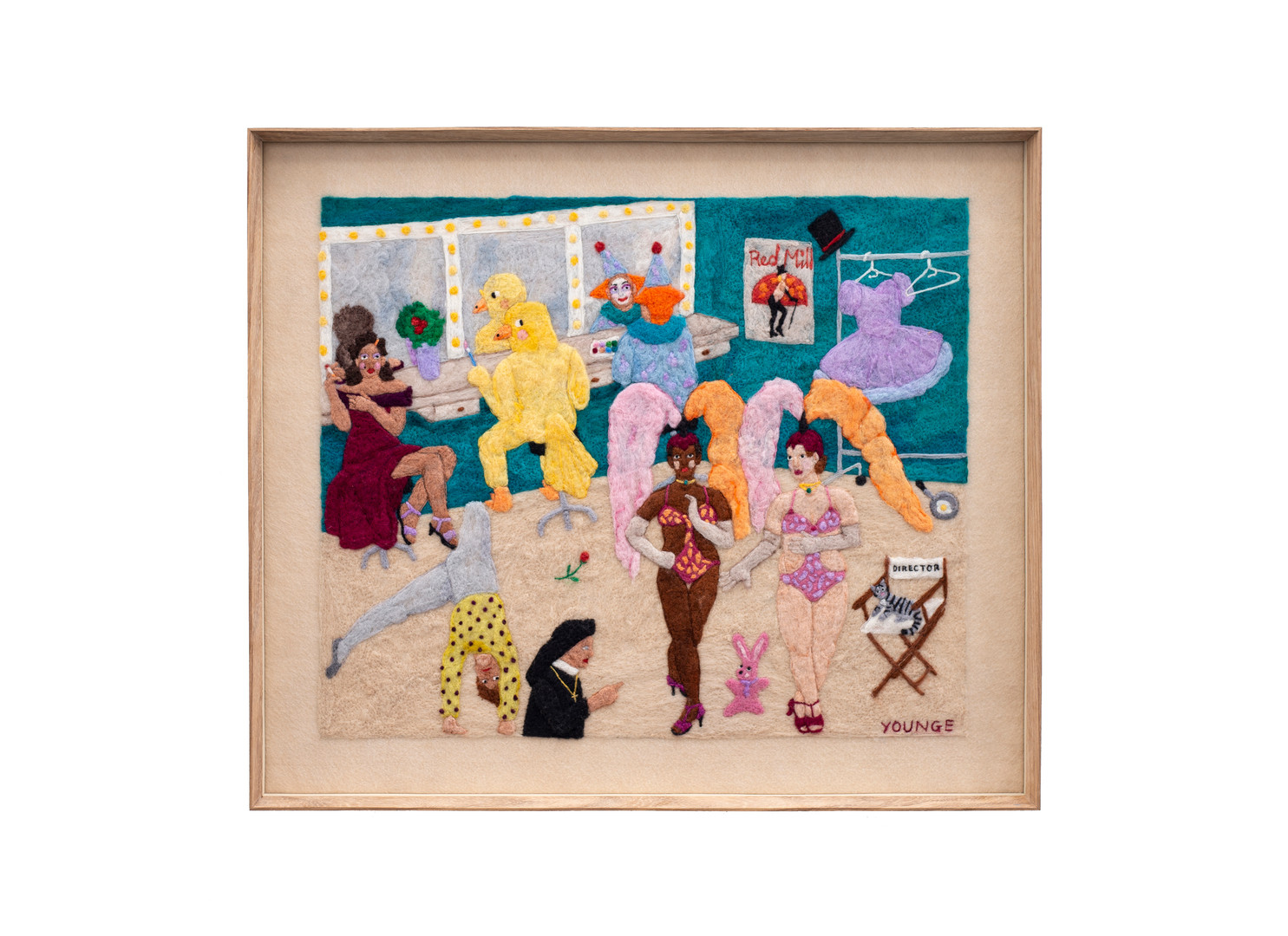 Michaela Younge   The director condemned happy people by creating miserable plays   2020   Merino Wool on Felt   54.5 x 63.5 cm