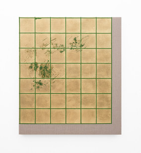 Pierre Vermeulen | Hair orchid sweat print, green grid | 2018 | Sweat, Gold Leaf Imitate, Shellac and Acrylic on Belgian Linen | 105.5 x 90 cm