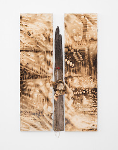 Sandile Zulu | Passage Route | Fire, Water, Air, Earth, Canvas, Wood, Newsprint and Beads | 2017