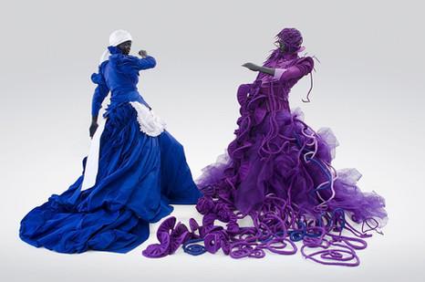 Mary Sibande | A Reversed Retrogress, Scene 1 | 2013 | Fibreglass, Resin, Fabric and Steel | 180 x 120 x 120 cm Each