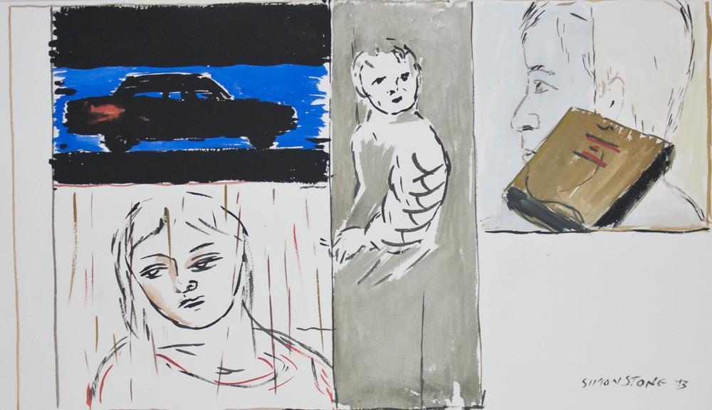 Simon Stone | Dark Car | 1993 | Gouache on Paper | 34 x 57 cm