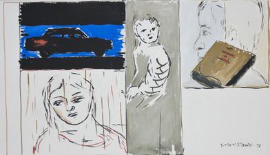 Simon Stone   Dark Car   1993   Gouache on Paper   34 x 57 cm
