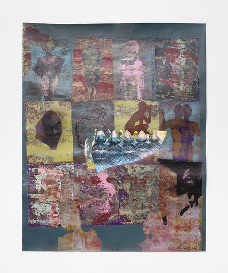 Ronald Muchatuta   Thessalonian Green III   2021   Acrylic on Paper   150 x 118 cm