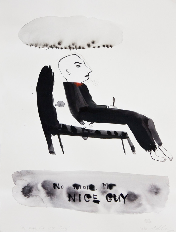 Karlien de Villiers | No more Mr Nice Guy | 2014 | Watercolour and Collage on Paper | 45 x 35 cm