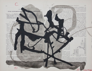 William Kentridge   (Encycapedia)   2000   Chine Collé on Found Paper   25 x 29 cm