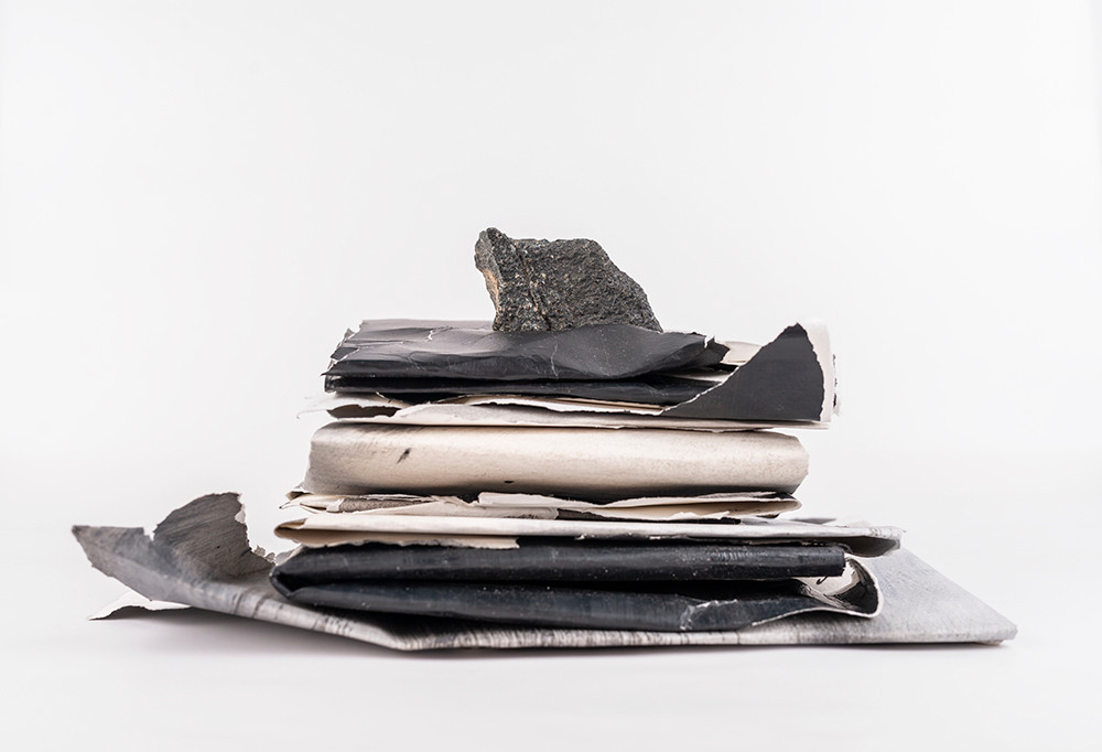 Alexandra Karakashian | Laid to rest I | 2020 | Folded Paintings, Oil, Paper and Rock | Dimensions Variable