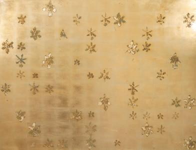 Pierre Vermeulen | 154 | 49 Hair Orchid Print | 2017 | Gold Leaf Imitate on Aluminium, Sweat | 150 x 195 cm