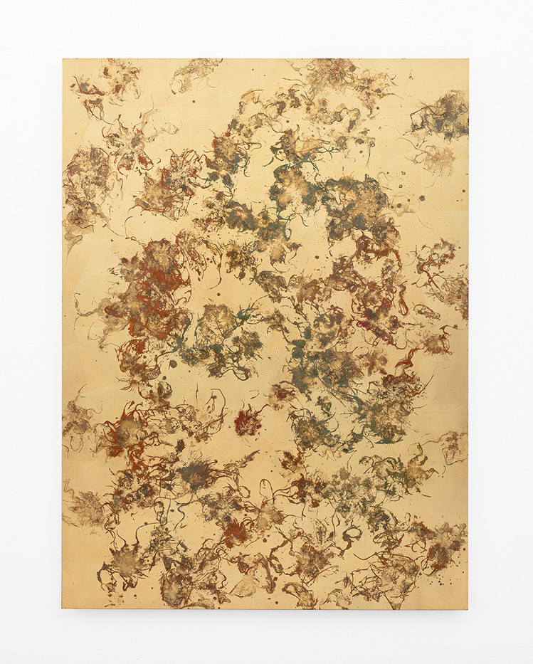 Pierre Vermeulen | Hair orchid sweat print, red, orange and gray | 2020 | Gold Leaf Imitate, Acrylic, Shellac and Sweat on Dibond | 148 x 109.5 cm