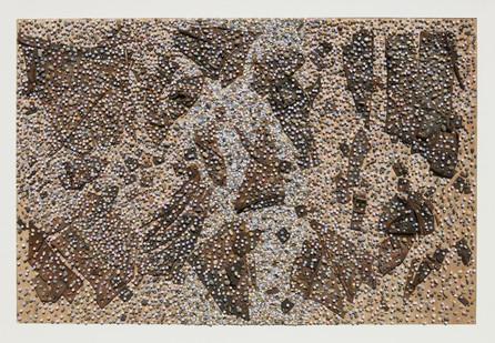 Willem Boshoff | School | 2013 | Stones, Old Leather School Bag and Dice | 106 x 147 cm