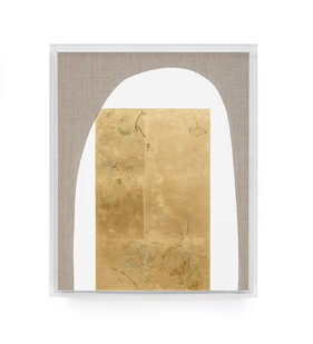 Pierre Vermeulen | Hair orchid sweat print, white with yellow | 2019 | Sweat, Gold Leaf Imitate, Shellac and Acyrilc on Belgian Linen | 52.5 x 43 cm