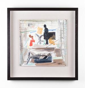 Simon Stone | Four Figures and Red Mark (Ottoman) | 2017 | Oil on Cardboard | 34 x 34 cm
