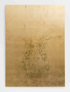 Pierre Vermeulen | Orchid Study in Sweat Nr. 4 | 2017 | Gold Leaf Imitate and Sweat on Aluminium | 150 x 109.5 cm