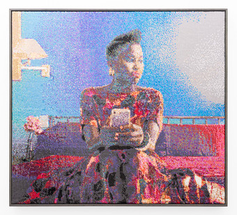 Frances Goodman | Blue Hotel | 2019 | Hand-Stitched Sequins on Canvas | 120 x 109 cm
