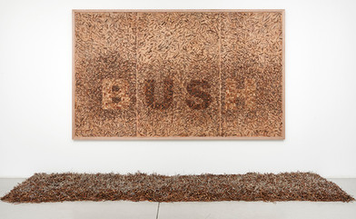 Willem Boshoff | Ambush | 2014 | Small Wooden Blocks, Pruned Snippets of Large Twigs and Branches, Charcoal | 308 x 188 x 5.2 cm