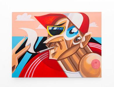 Callan Grecia | UP YOURS | 2021 | Acrylic on Canvas | 91.5 x 122 cm