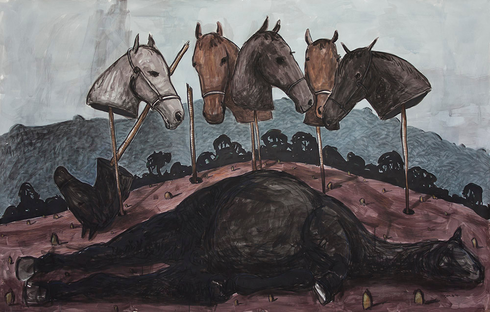 Colbert Mashile   The Vigil for Boxer   2014   Mixed Media on Paper   150.5 x 207.5 cm