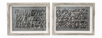 Rory Emmett | Study for Reprise (diptych) | 2019 | Chalk, charcoal & gesso on paper, wood, glass, resin & cement | 19 x 27 cm
