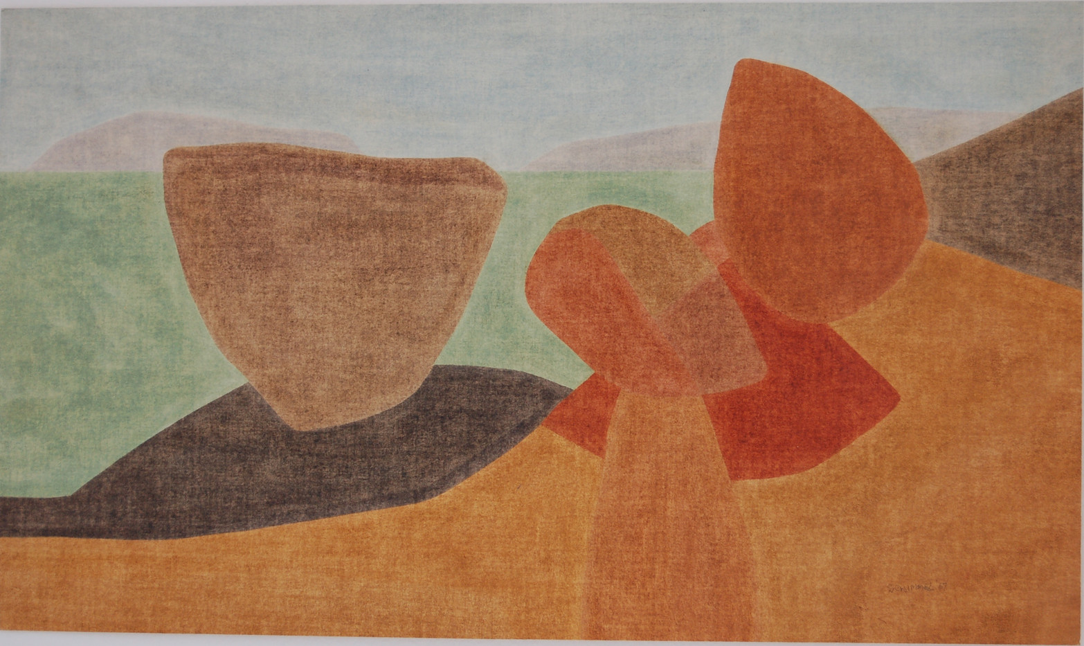 Fred Schimmel | Landscape Formations | 1967 | Oil on Paper | 39.5 x 68 cm