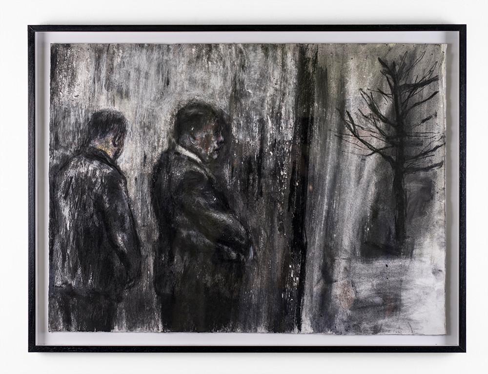 Johann Louw | Twee Mans en 'n Boom | 2018 | Charcoal on Paper | 63 x 86.5 cm