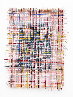 Gabrielle Kruger | Pasted Weave | 2019 | Acrylic Paint Extending a Board | 136 x 80 cm