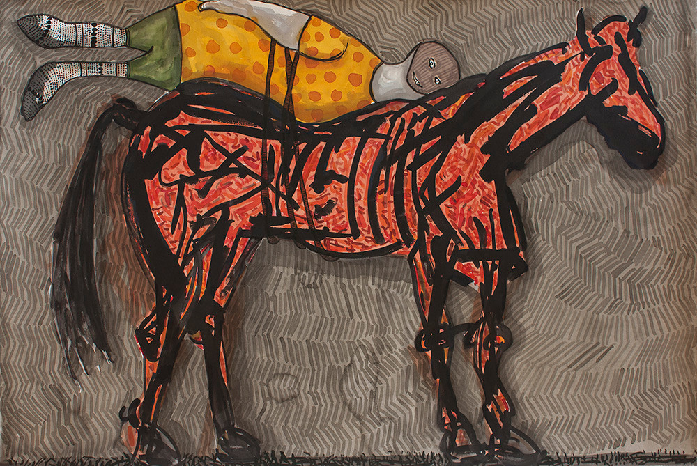 Colbert Mashile   The Idle   2014   Watercolour on Paper   80 x 121 cm