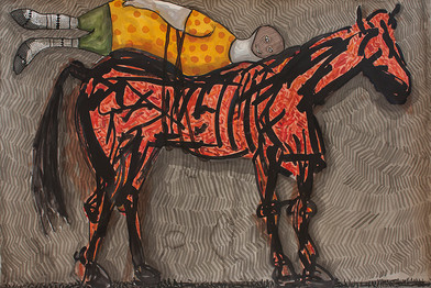 Colbert Mashile | The Idle | 2014 | Watercolour on Paper | 80 x 121 cm