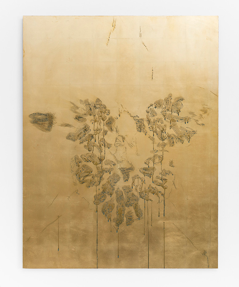 Pierre Vermeulen | Orchid Study in Sweat nr.2 | 2017 | Gold Leaf Imitate on Aluminium, Sweat | 150 x 115 cm