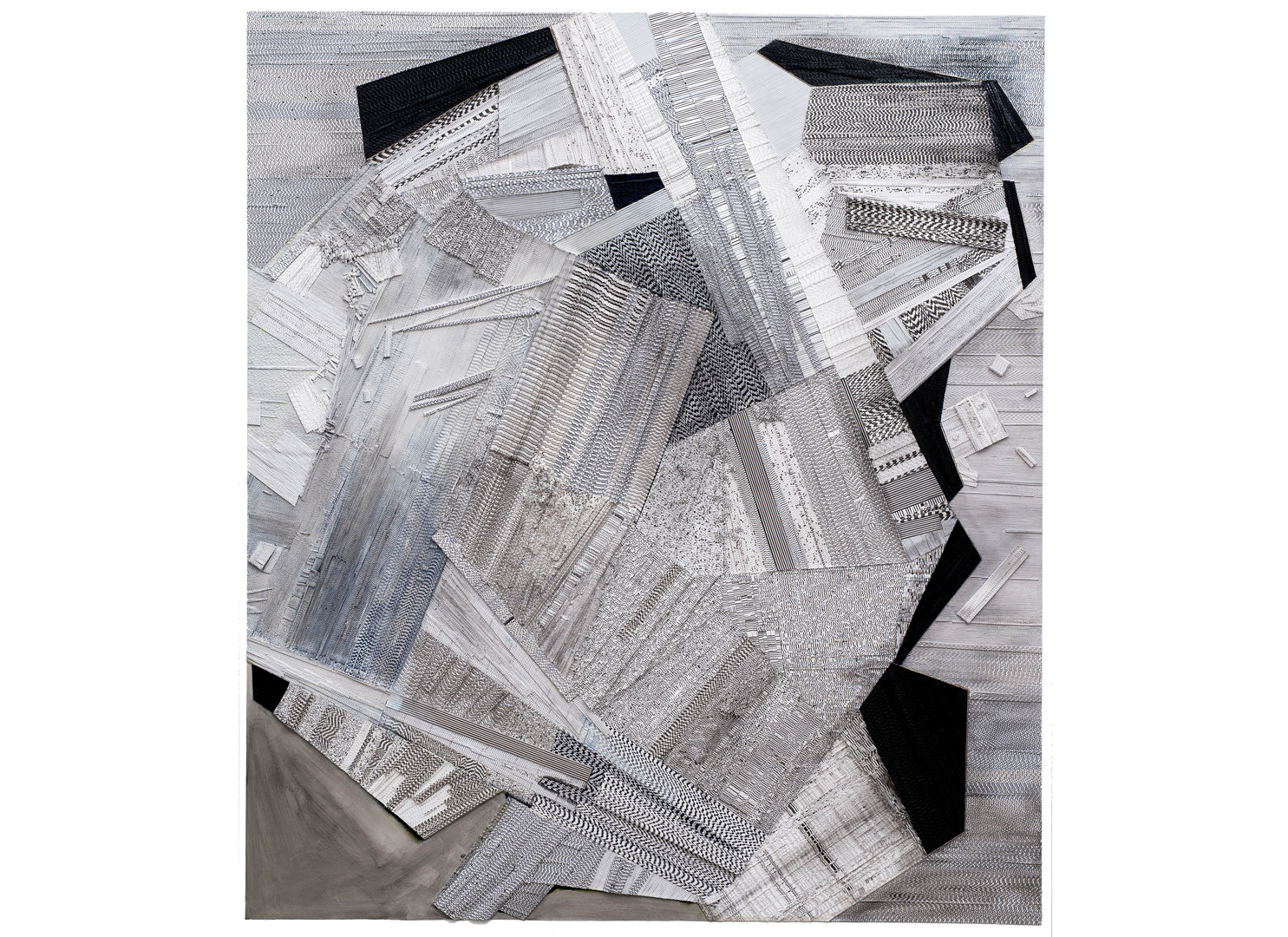 Galia Gluckman   Order   2019   Construction with Canvas Textured Paper, Acrylic and Bonding Tape on Board   185 x 155 cm