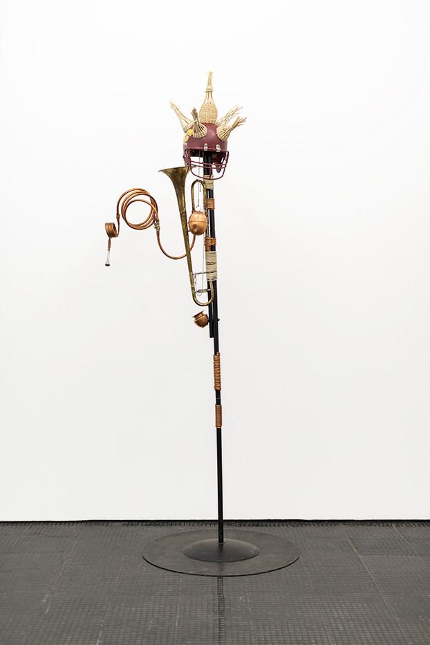 Masimba Hwati | Sokunge 1 | 2019 | Brass Trumpet, Brass Bowl, Steel, Metal Tubing, Copper Tubing and Metal Plate | 300 x 100 cm