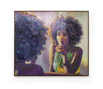 Frances Goodman   Mirror, Mirror...   2019   Hand-Stitched Sequins on Canvas   122 x 110 x 7 cm