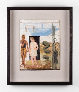 Simon Stone | Two Women, One Man | 2017 | Oil on Cardboard | 33 x 27 cm