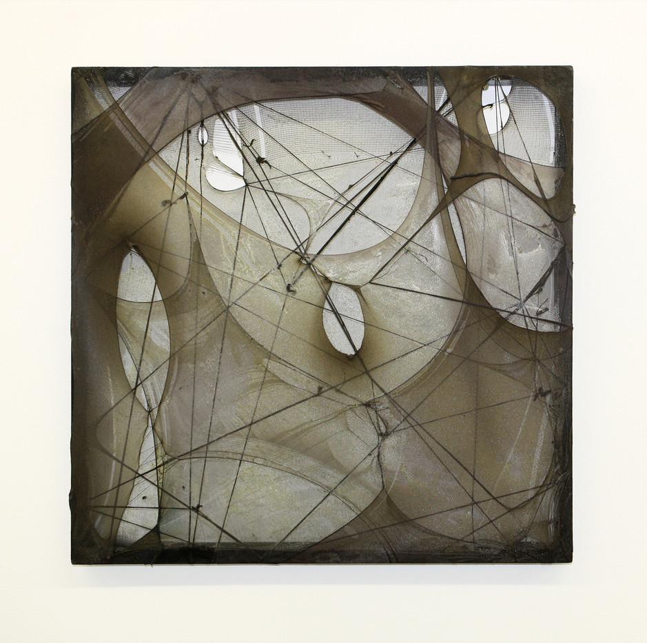 Turiya Magadlela | Ufeela usaphila | 2012 | Silk Stockings, Wood, Varnish | 75 x 75 cm
