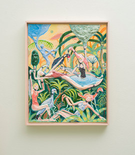 Marlene Steyn   A gaggle in the garden   2018   Oil on Canvas Board   51 x 40.5 cm