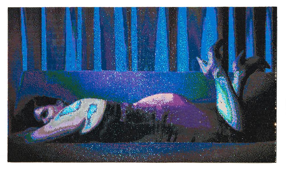 Frances Goodman | Gimme! Gimme! Gimme! | 2018 | Hand-Stitched Sequins on Canvas | 98 x 129 cm