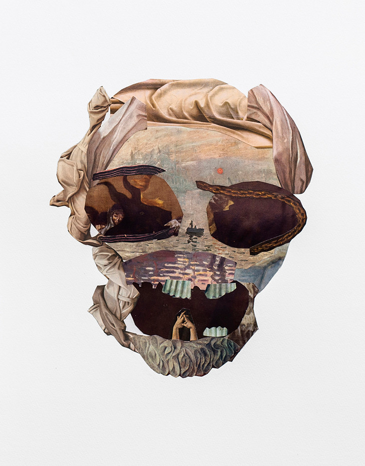 Kate Gottgens | Vanitas V (Skull with Devilish eye) | 2020 | Collage on Paper | 76 x 56 cm