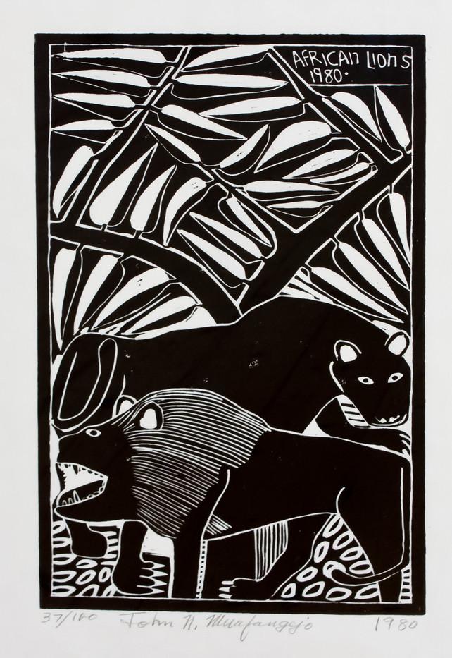 John Muafangejo | African Lion | 1980 | Linocut on Paper | 44 x 26 cm | Edition of 100
