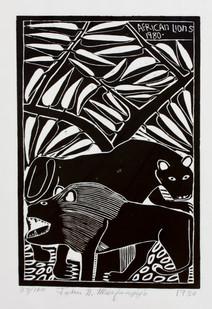 John Muafangejo   African Lion   1980   Linocut on Paper   44 x 26 cm   Edition of 100