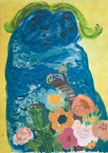 Georgina Gratrix | She Monster | 2014 | Monotype on Paper | 140 x 99 cm